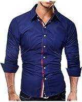 LOKOUO Slim Fashion Male Shirt Long-Sleeves Tops Color Casual Mens Dress Shirts Slim Men Shirt 3XL Cool