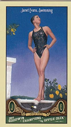 1996 UPPER DECK OLYMPIC CHAMPIONS JANET EVANS SWIMMING CARD #2