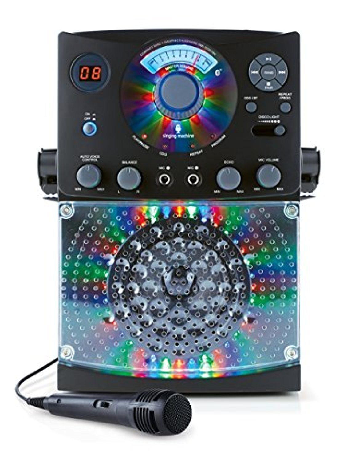 Bundle Includes 2 Items - Singing Machine SML385BTBK Top Loading CDG Karaoke System with Bluetooth, Sound and Disco Light Show (Black) and Singing Machine SMM-205 Unidirectional Dynamic Microphone by Singing Machine and Singing Machine (Image #6)