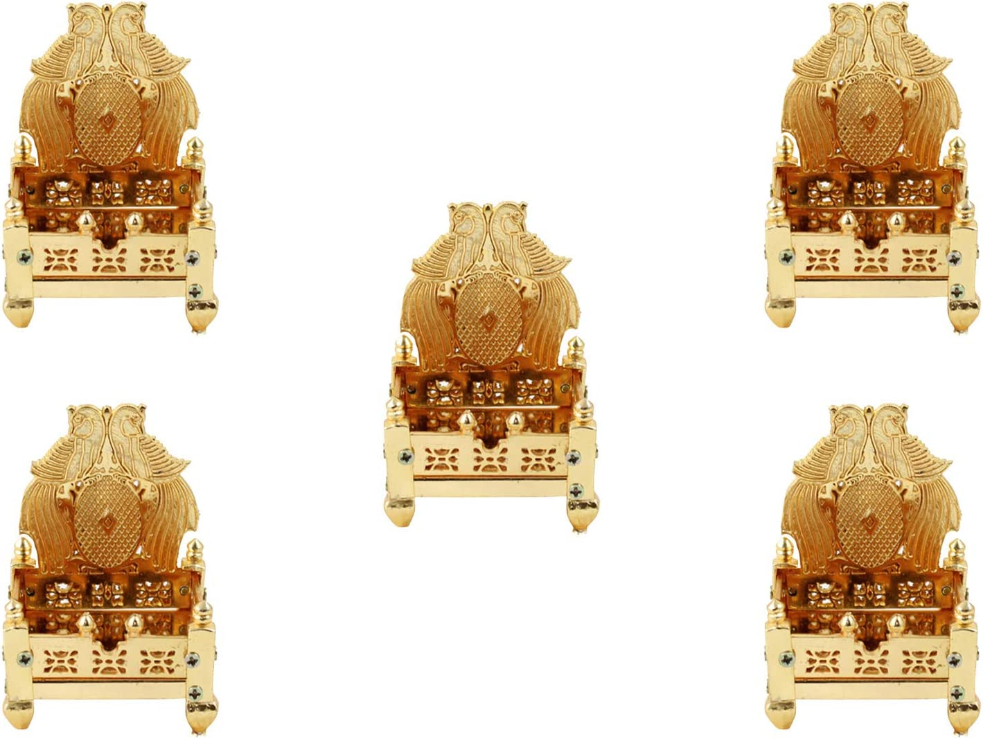 GodGiftIdeas Gold Plated Peacock Design Singhasan for Gods, Indian Return Gifts for Pooja, Chowki for Puja, Pooja Items for Home Temple (Pack of 5) (9.5 x 6.5)