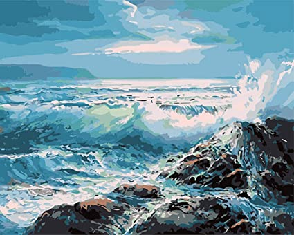 DIY Oil Painting Paint by Numbers Kit for Adults Kids Beginner Painting Paintworks on Canvas 16x20inch With Frame Sunset Wave Seascape
