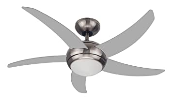 FJ WORLD L44001 Silver Ceiling Fan With 5 Curved Blades 44 Inches, Dome  Light And