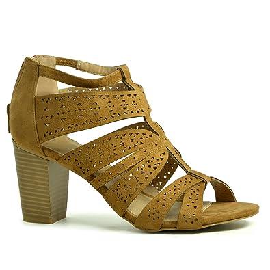 addb20da435a CucuFashion Womens Caged Sandals Back Zip Ladies Girls High Block Heels  Sandals Peep Toe Shoes Size UK 3-8  Amazon.co.uk  Shoes   Bags