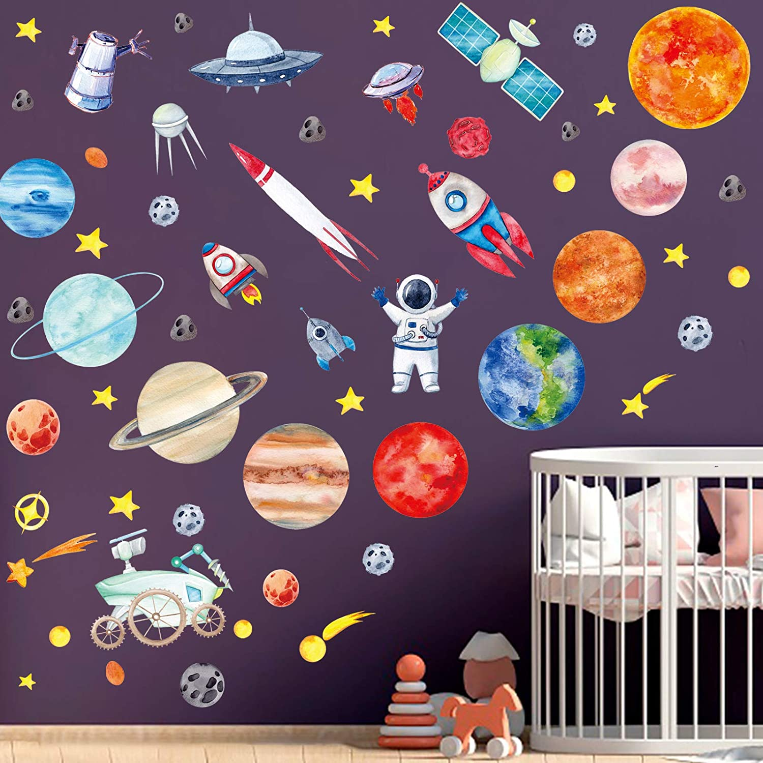 4 Sheets Space Wall Stickers,Galaxy Astronaut Rocket Spacecraft Alien Decoration,Planet Wall Decals,Solar System Wall Stickers for Kids, Planet Wall Decals, lanets Spaceship Stars Decal Decoration