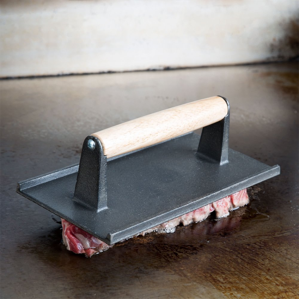 (Set of 2) Cast Iron Steak Weight/Bacon Press with Wooden Handle, 8 x 4-Inch Heavy-Weight Grill Press by Tezzorio, Commercial Grade Burger/Panini Weight Press by Tezzorio Kitchen Utensils (Image #5)