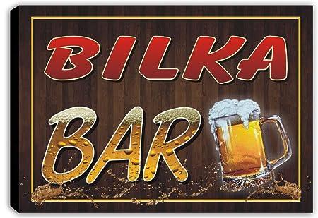 Scw3 054776 Bilka Name Home Bar Pub Beer Mugs Stretched Canvas Print