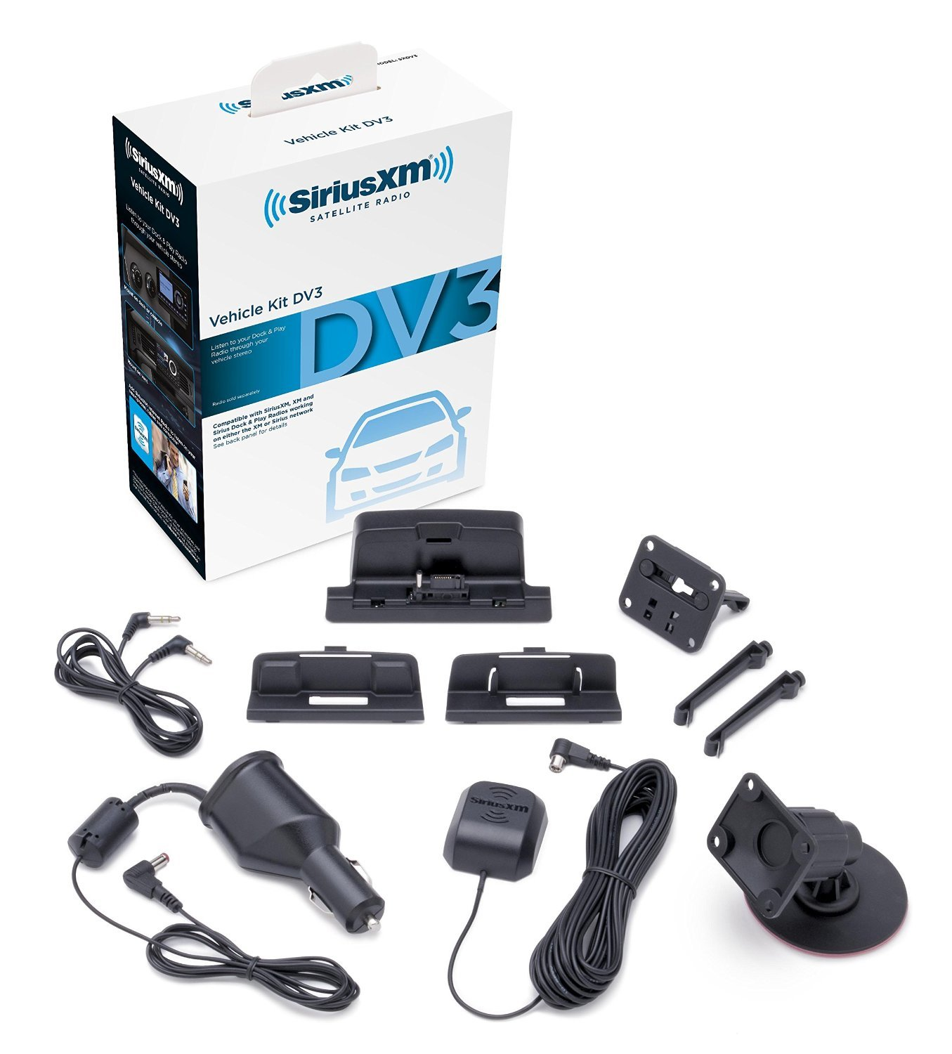 Siriusxm Sxdv3 Satellite Radio Vehicle Mounting Kit With Car Antenna Wiring For Home Use Dock And Charging Cable Black Sirius Xm Cell Phones Accessories