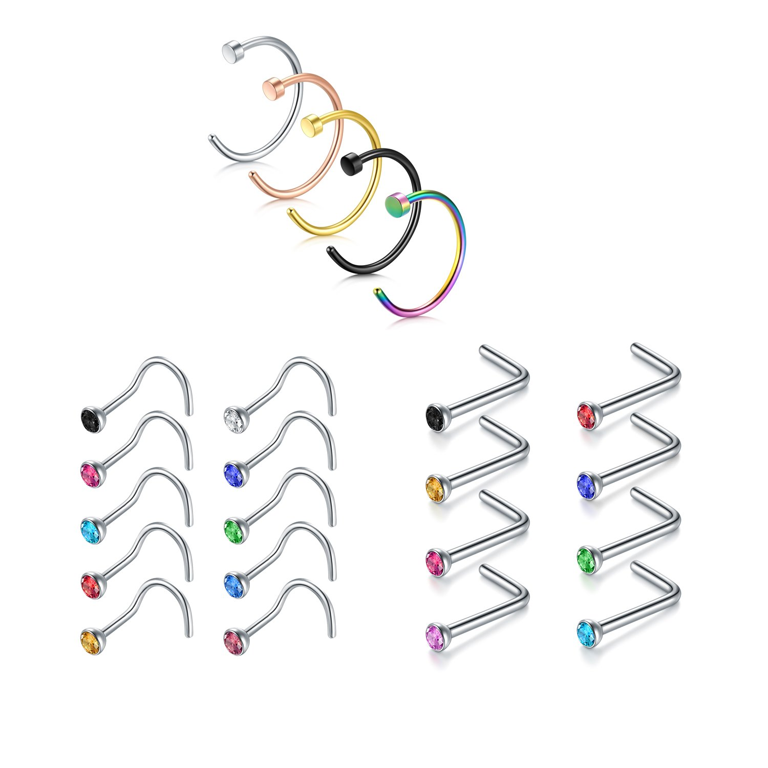 Nose Ring, 23PCS 18G 316L Surgical Stainless Steel Incaton Body Jewelry Piercing Nose Hoop Ring and L Shaped Ring