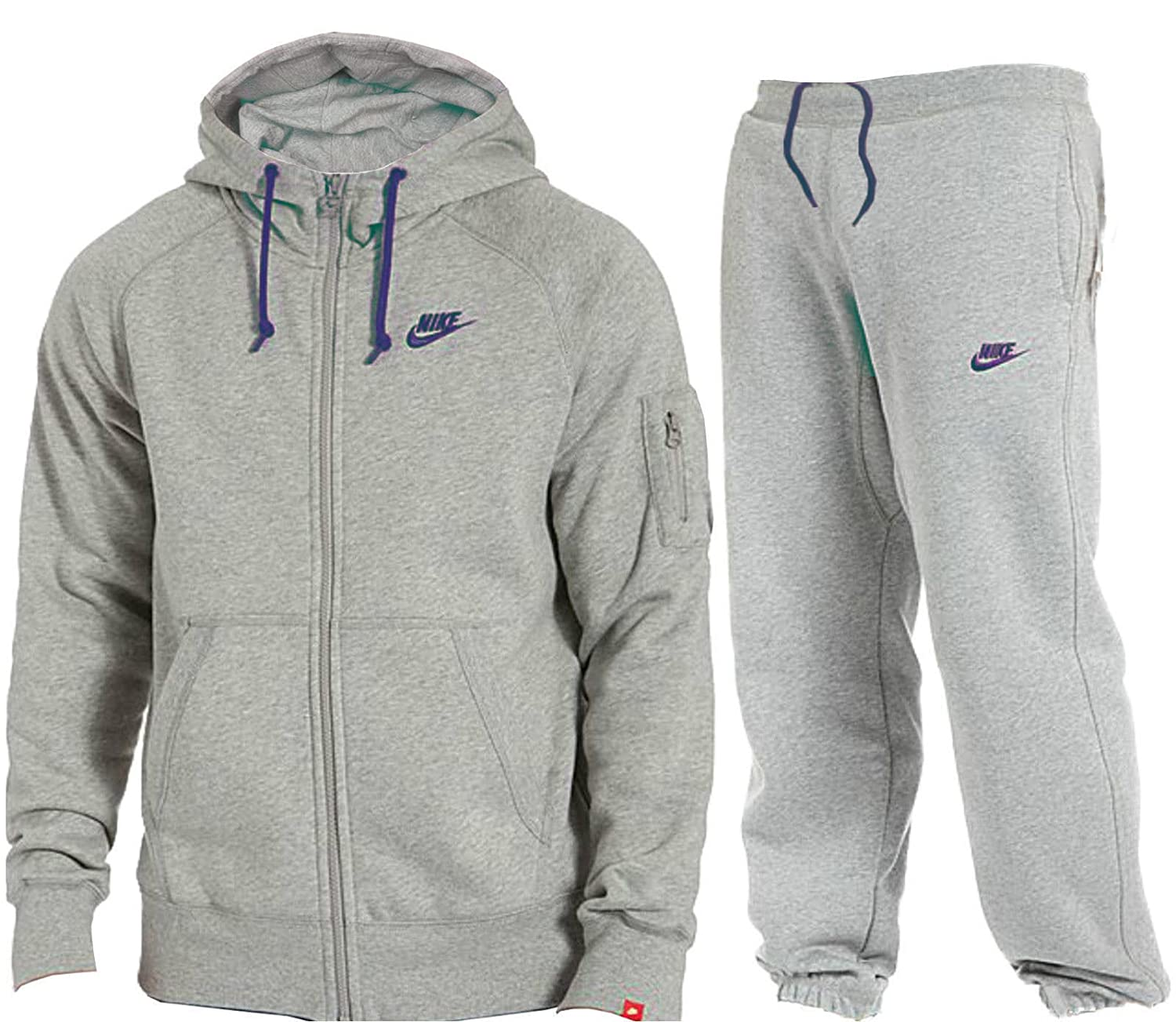 huge discount 1b472 88b60 Nike Mens Jog Suit Foundation Fleece Tracksuit Brushed Fleece Hooded Sports  Jogging Top Bottoms 2 Colours Marl Grey Sizes S M L XL New (MarlGrey Navy,  L)