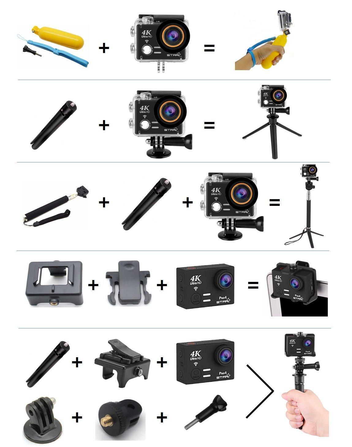uksoku 4 K Sport Action Kamera Ultra HD Camcorder 18 MP WIFI ...