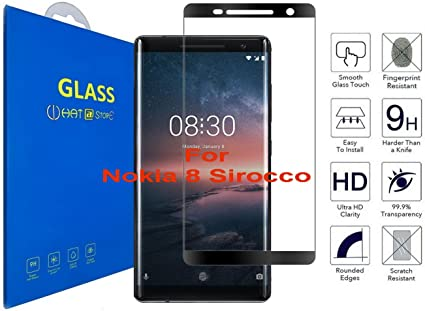 Nokia 8 Sirocco - Curvo 3D Cristal Templado Protector de Pantalla ...