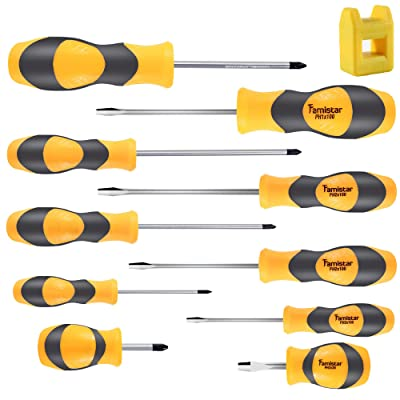 Magnetic Screwdriver Set 10 PCS,Famistar Professional Cushion Grip 5 Phillips and 5 Flat Head Tips Screwdriver for Repair Home Improvement Craft: Home Improvement