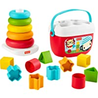 Fisher-Price Baby's First Blocks and Rock-a-Stack Gift Set, 2 Plant-Based Toys for Infants Ages 6 Months and Older