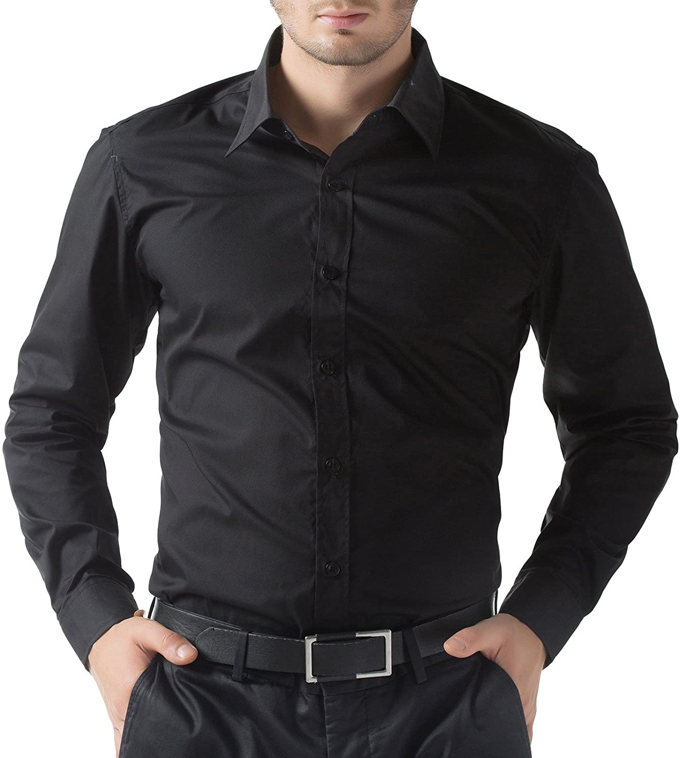 Black t shirt full sleeve with collar - Paul Jones Men S Business Casual Long Sleeves Dress Shirts At Amazon Men S Clothing Store
