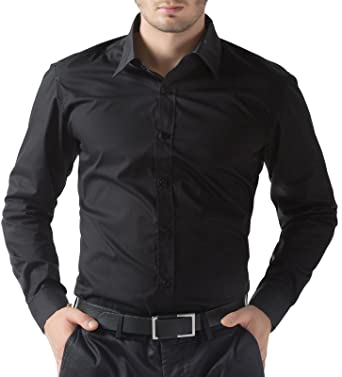 Paul Jones Mens Casual Lapel Neck Dress Shirts (S, Black): Amazon ...