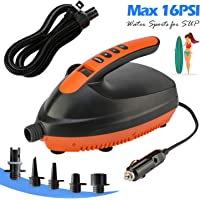 Tuomico SUP Electric Air Pump with 6 Nozzles, Portable LCD Digital Electric Pump, Max 16 PSI, Built in Temperature Sensor and Voltage Meter for Boats, Tents