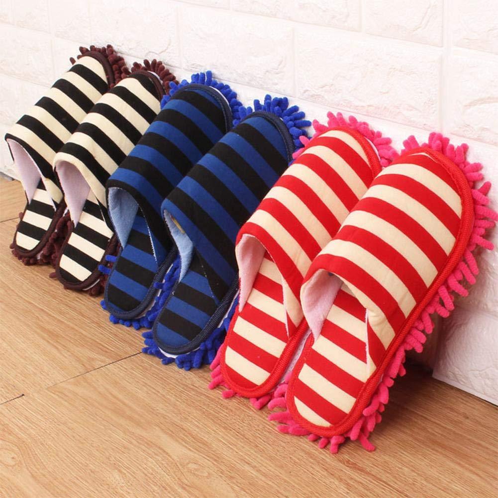 Mlec tech Dust mop pantofole 1 coppia a doppio strato Ispessito Striped rimovibile lavabile in ciniglia con fondo Lazy polvere pulizia pantofole per autunno e inverno per la casa (38 –  38,4 m), Red 4m)