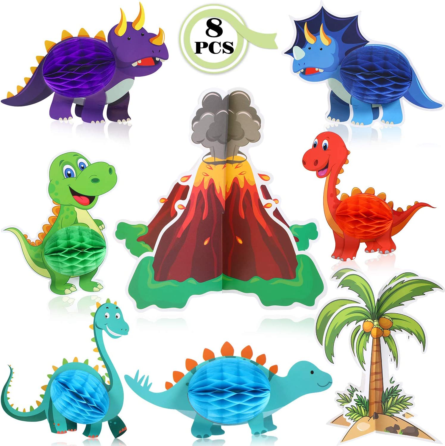 Gejoy 8 Pieces Dinosaur and Volcano Centerpieces Dinosaurs Honeycomb 3D T. Rex Dinosaur Themed Birthday Decorations for Baby Shower Wedding Theme Party Suppli