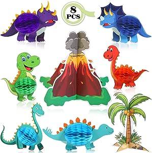 Gejoy 8 Piezas Centros de Mesa de Dinosaurio y Volcán Panal de ...