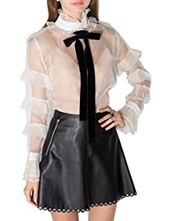 aea8201af1 HaoDuoYi Women's Fashion Stripe Button Down Tie Flare Long Sleeve ...