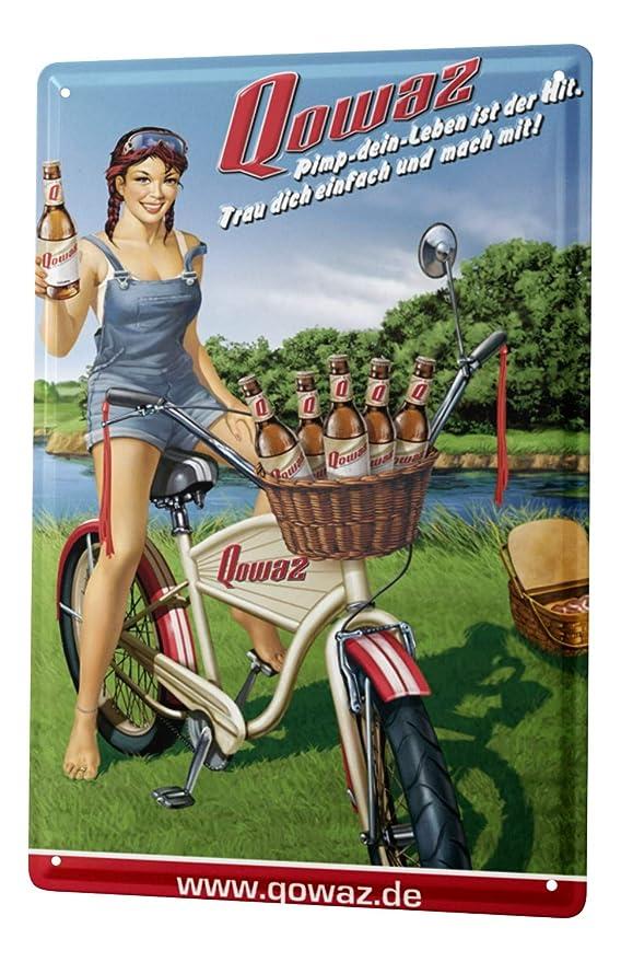 Cartel De Chapa Cerveza Decoración Retro Fürstenberg Retro Publicidad Qowaz chica bicicleta de picnic Diversión Sala De Fiestas Decoración De La Pared ...