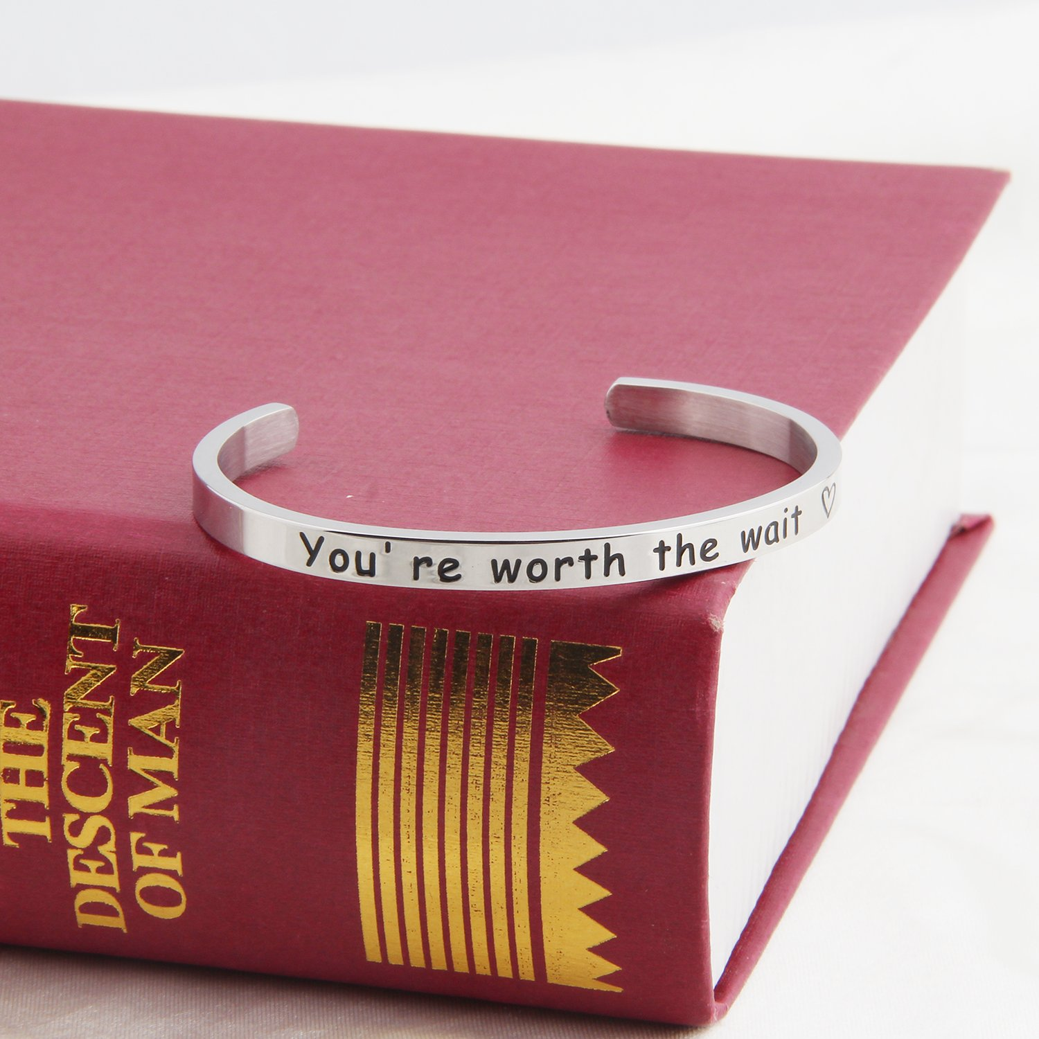 ENSIANTH Youre Worth The Wait Cuff Bracelet Long Distance Relationship Bracelet Purity Jewelry Girlfriends Gift