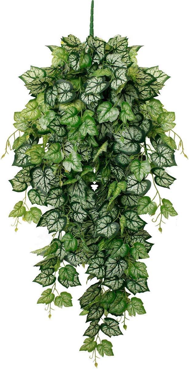 Nubry Artificial Hanging Plants Fake Plastic Ivy Greenery Vine for Outdoor Boho Home Livingroom Garden Wall Wedding Garland Decor, Set of 1 (Green+White Ivy)