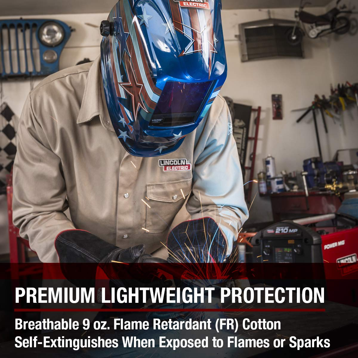 Lincoln Electric Welding Shirt | Premium Flame Resistant (FR) Cotton | Custom Fit | Khaki / Tan | Large | K3382-L by Lincoln Electric (Image #4)