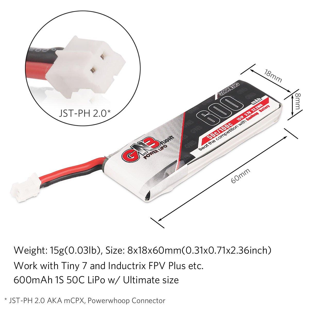 6pcs GNB 260mAh HV 1S LiPo Battery 30C 3.8V LiHV for Tiny Whoop JST-PH 2.0 Po...