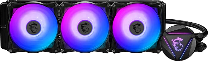 MSI MAG CORELIQUID 360R - AIO RGB CPU Liquid Cooler - Rotating Cap Design - 360mm Radiator - Triple 120mm RGB PWM Fans.