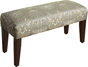 HomePop Upholstered Accent Bench with Wood Legs, Soft Blue Damask
