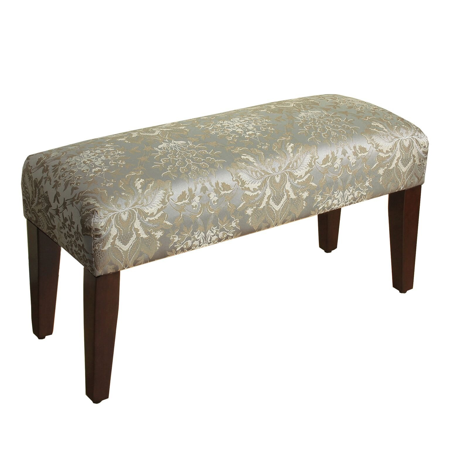 HomePop Upholstered Accent Bench with Wood Legs, Soft Blue Faux Silk Damask