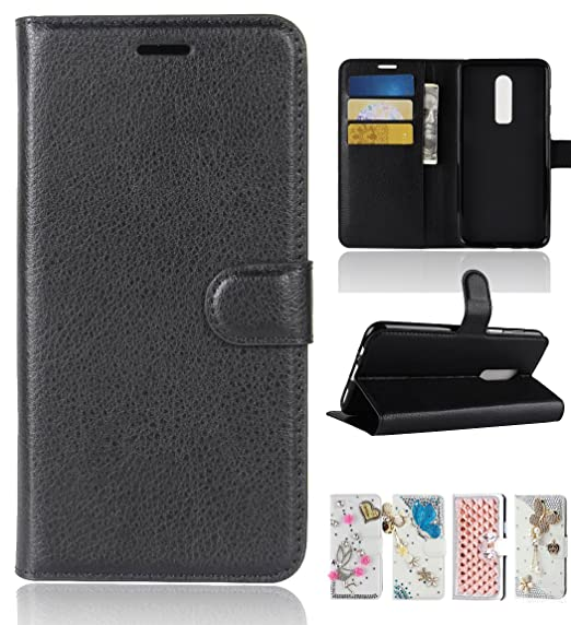 differently 082bc 8b0d3 Oneplus 6 Case, Best Share Premium Flip Kickstand PU Leather Wallet Case  Full Protective Cover with Card Slot Magnetic Closure, Black