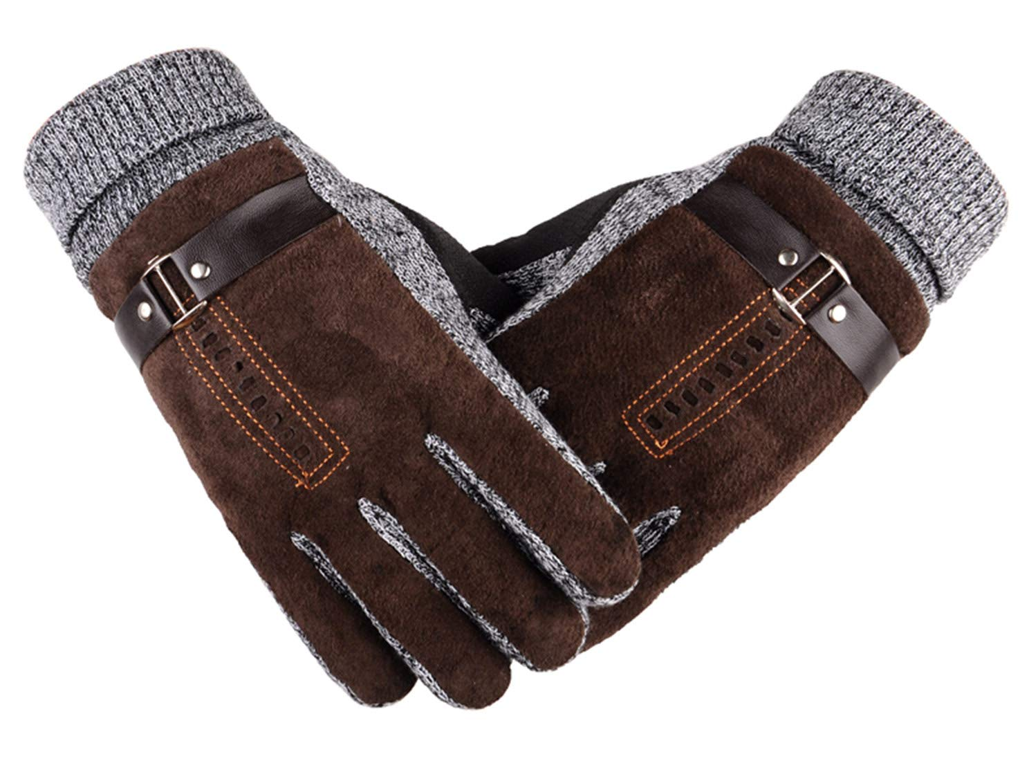 AIEOE Men Gloves Thick Touch Screen Gloves Lightweight Breathable Wind Resistant Winter Gloves for Drving Biking