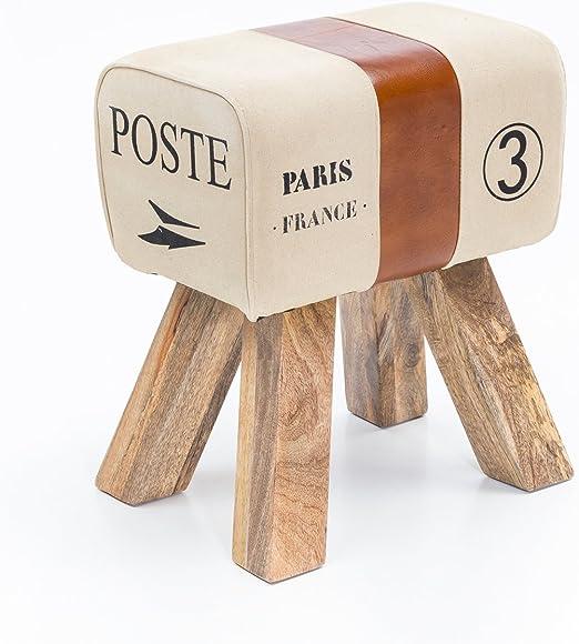 Retro Springbock Sitzhocker Hocker Polster-Hocker Fußhocker Massivholz Paris
