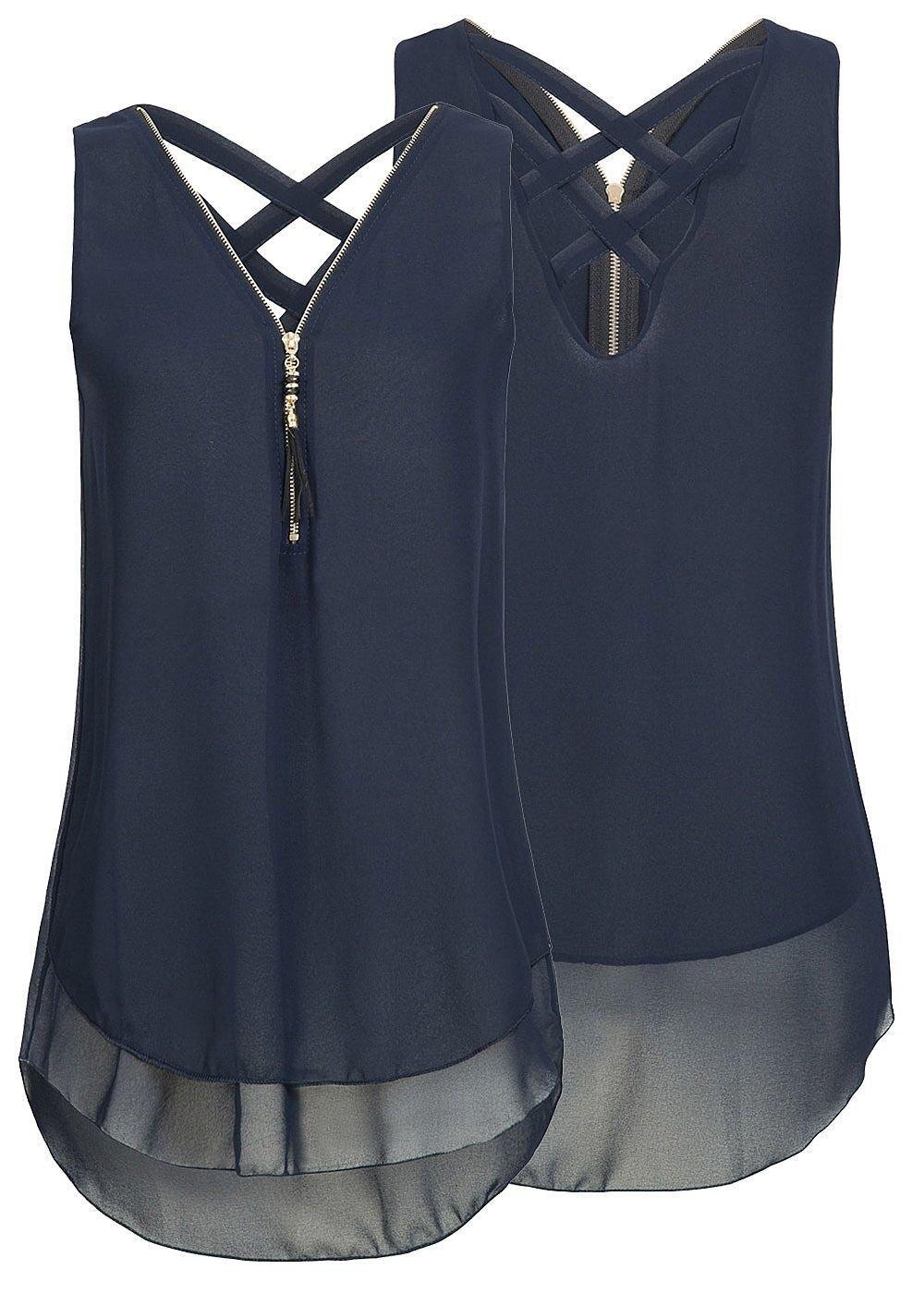 Yknktstc Womens Casual Sleeveless V Neck Chiffon Tank Top Crisscross Back Zipper Blouse T Shirt Small Style 2-Navy
