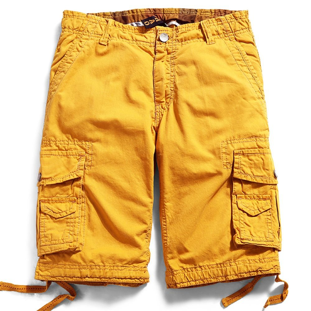 Men's Cotton Cargo Shorts Elastic Waist Loose Fit Pants Boys Summer Outdoor (36,Yellow)