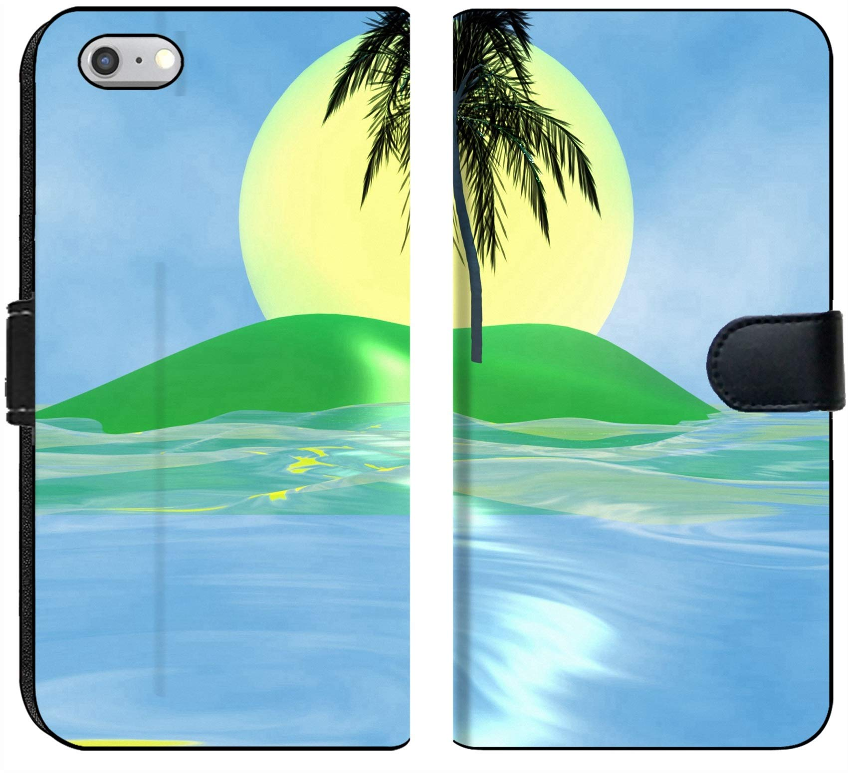 Luxlady iPhone 6 and iPhone 6S Flip Fabric Wallet Case Solar Island with a Palm Tree in The Huge Dark Blue sea Image ID 2842537