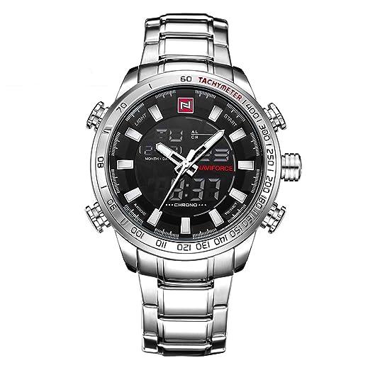 Watch Hombre analógico - Digital Cuarzo Reloj Digital con Correa de Acero Inoxidable 9093: Amazon.es: Relojes
