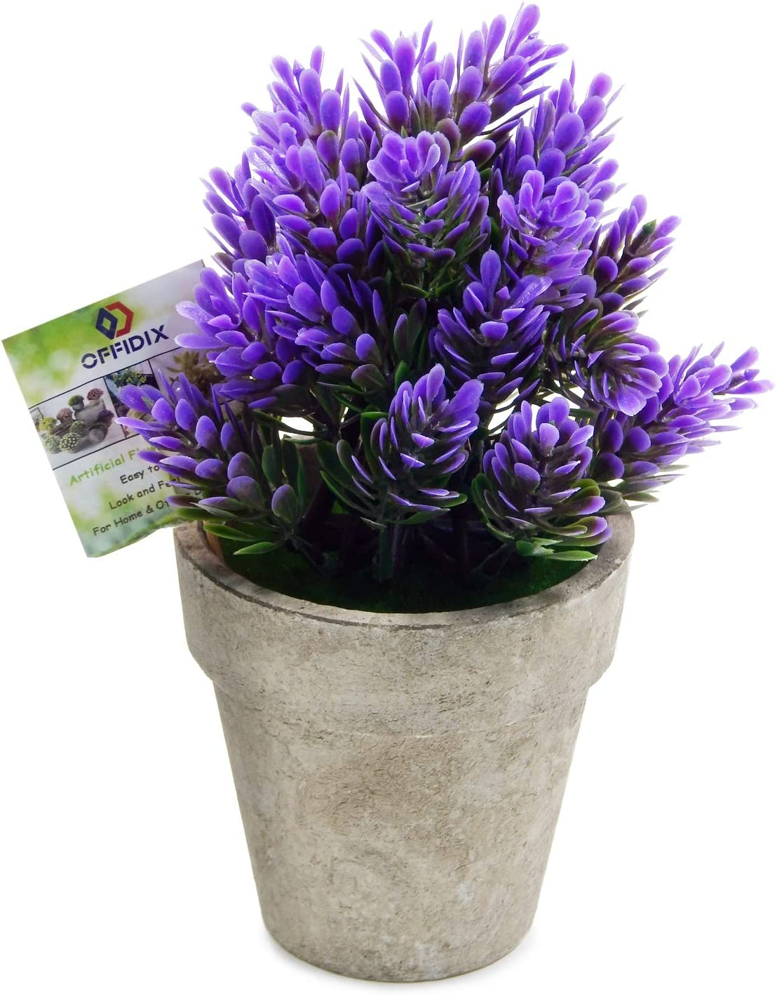 OFFIDIX Mini Artificial Lavender Flowers Potted Plant Desktop Plant Fake Plants with Gray Pot for Home Office Cafe Desktop Decoration (Purple)