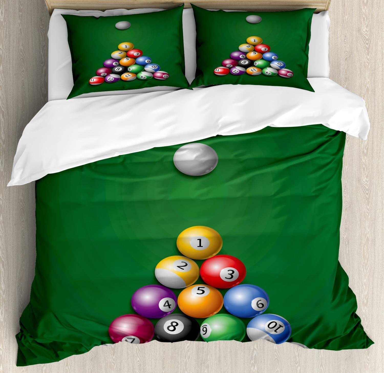 Juego de funda nórdica de billar, ilustración de dibujos animados de Triángulo de bolas y taco de mesa de billar Ready to Play, juego de cama decorativo de 3 piezas con 2