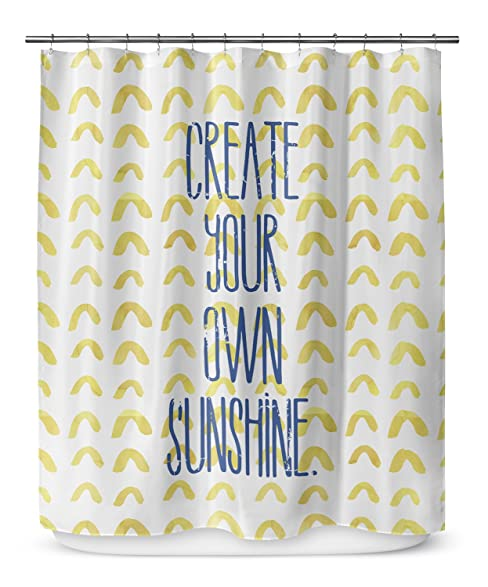 KAVKA Designs Create Your Own Sunshine Shower Curtain Blue Gold White