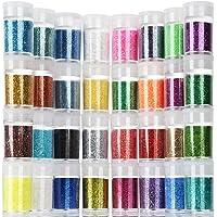 Teenitor Fine Glitter, 32 Jars 8g Each Glitter Set, 32 Assorted Color Arts and Craft glitter, Eyeshadow Makeup Nail Art Pigment Glitter, Glitter for slime