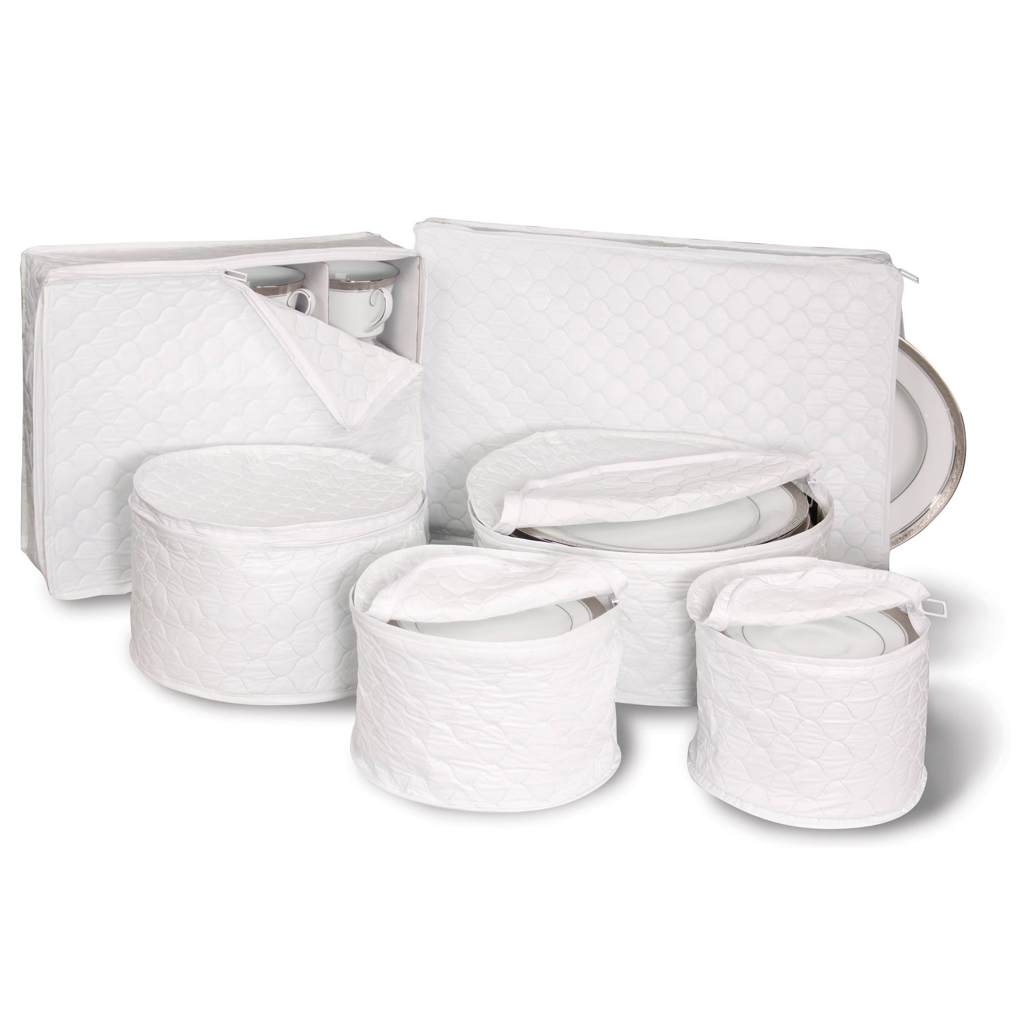6 Piece Tabletop Quilted Vinyl Dinnerware Storage Set  sc 1 st  Amazon.com : dinnerware storage containers - Pezcame.Com
