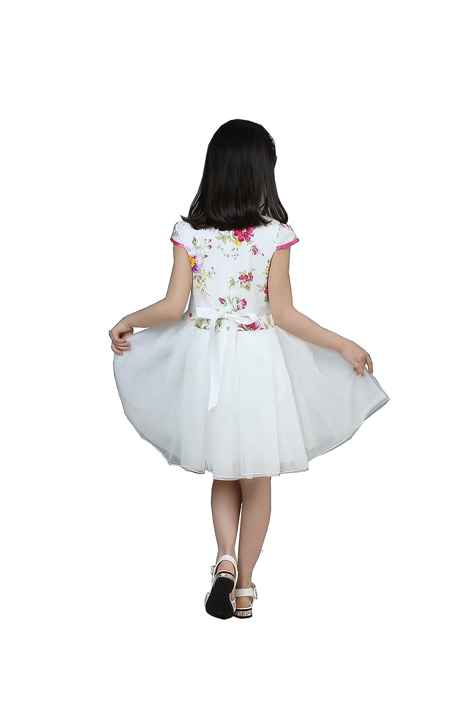 Colorfulworld Girls Summer Qipao Flower Cheongsam Princess Dress Performance Dance Skirt