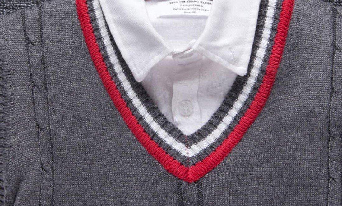 Doufine Mens Pullover Knitted Slim V-Neck Sleeveless Sweater Vest Dark Grey S by DoufineMen (Image #3)
