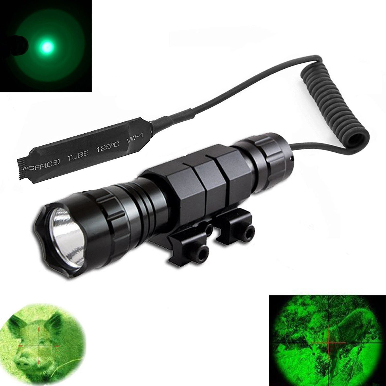 Windfire Tac résistant à l'eaulumière verte LED Coyote Hog Fusil de chasse tactique lampe de poche avec interrupteur de pression et fusil Mont Picatinny AR Rail support de fixation pour fusil (batterie non inclus)