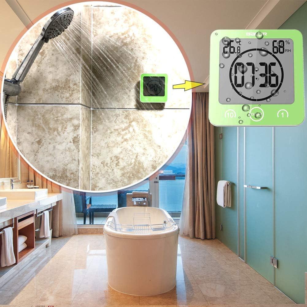 Grün Wasserdicht Badezimmer Wanduhr Thermometer Hygrometer Timer