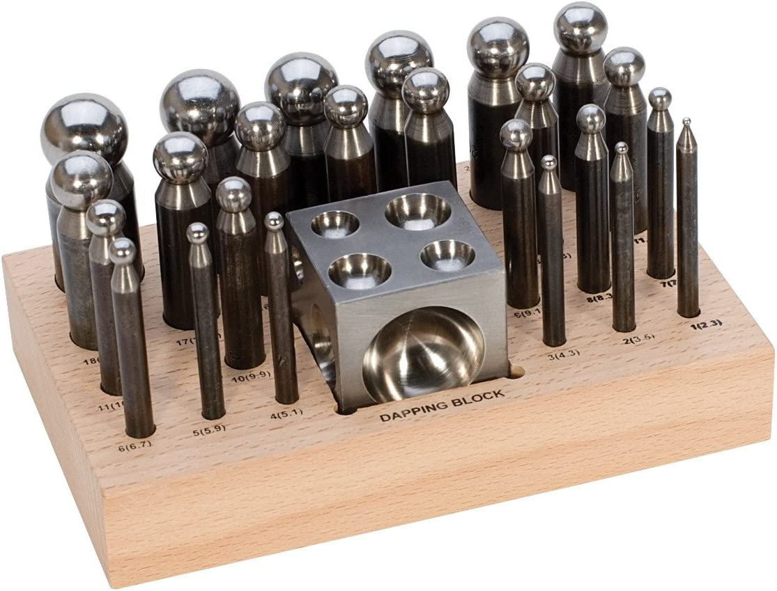 25pc Steel Doming Block and Punch Set Dapping Craft Metal Shaping Tool Kit