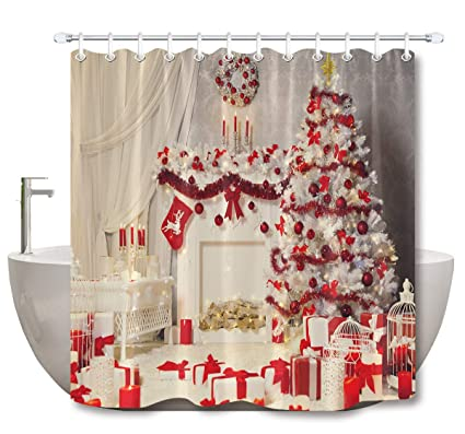 LB Merry Christmas Shower CurtainHoliday Presents Tree With Red Decorations Xmas Bathroom Curtain